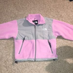 North Face pink small zip up jacket